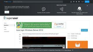 Auto login Windows Server 2012 - Super User