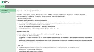 Internet security guidelines - BCV - Banque Cantonale Vaudoise