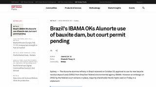 Brazil's IBAMA OKs Alunorte use of bauxite dam, but court permit ...