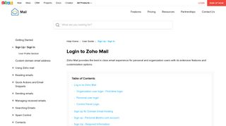 Sign In / Sign Up to Zoho Mail