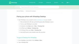 WhatsApp FAQ - Pairing your phone with WhatsApp Desktop