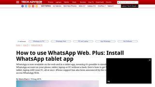 How to use WhatsApp Web - Tech Advisor