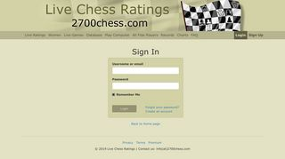 Login - Live Chess Ratings