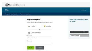 QGov: Login or register
