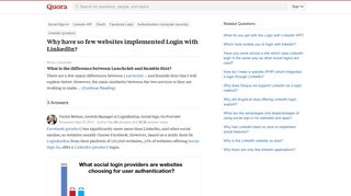Why have so few websites implemented Login with LinkedIn? - Quora