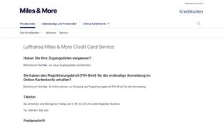 Kontakt - Lufthansa Miles & More Kreditkarte