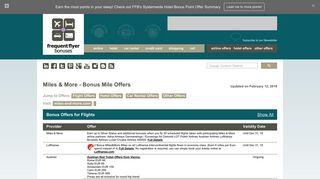 Frequent Flyer Bonuses | Miles & More - Bonus Mile OffersMiles ...
