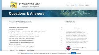 FAQ - Private Photo Vault
