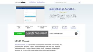 Mailxchange.1and1.co.uk website. IONOS Webmail.