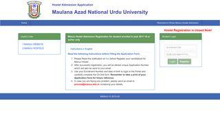 Online Hostel Admission System, | MANUU
