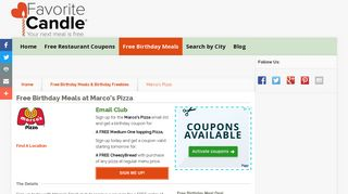 Free Birthday Meals-Marcos Pizza - FavoriteCandle