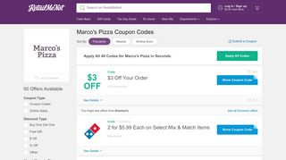 Marco's Pizza Coupon Codes, 50 Coupons 2019 - RetailMeNot