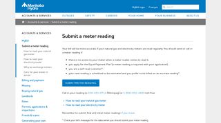 Submit a meter reading - Manitoba Hydro