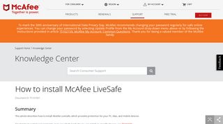 McAfee KB - How to install McAfee LiveSafe (TS101831)