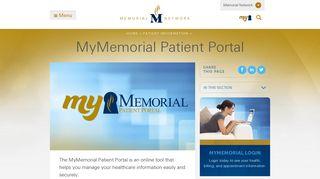 MyMemorial Patient Portal - Memorial Network