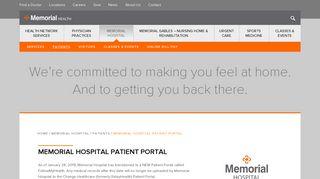 Memorial Hospital Patient Portal   Memorial Health