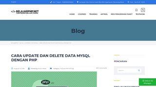 Cara Update Dan Delete Data MySQL Dengan PHP - Belajarphp