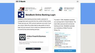 MetaBank Online Banking Login - CC Bank