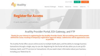 Register Now For Portal Access - Availity