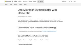 Use Microsoft Authenticator with Office 365 - Office 365