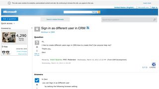 Sign in as different user in CRM - Microsoft