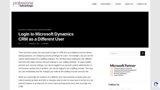 Login to Microsoft Dynamics CRM as a Different User - Professional ...