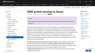 OMS portal moving to Azure | Microsoft Docs