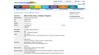 Milton Public Library - Children's Programs ...