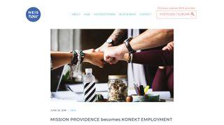 MISSION PROVIDENCE becomes KONEKT EMPLOYMENT | NEIS