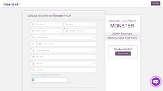 Monsterindia.com: Create an account - Upload Resume - Start ...