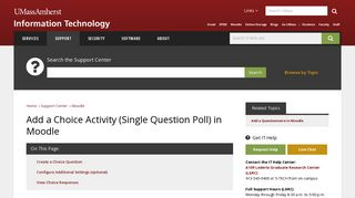 Add a Choice Activity (Single Question Poll) in Moodle - UMass Amherst