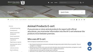 Animal Products E-cert | MPI | NZ Government