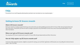 FAQs - SE Grocers rewards