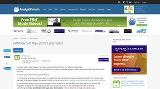 FRM Part I/II May 2018 Early Tells? | AnalystForum
