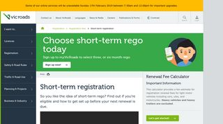 Short-term registration : VicRoads