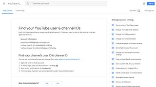 Find your YouTube user & channel IDs - YouTube Help