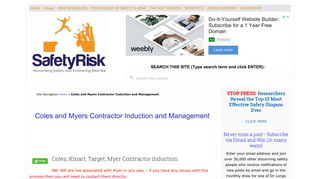 Coles and Myers Contractor Induction and Management • SafetyRisk.net