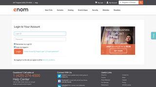 Login - eNom - domain name, web site hosting, email, registration