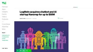 LogMeIn acquires chatbot and AI startup Nanorep for up to $50M ...