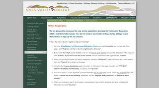 Online Registration - Napa Valley College