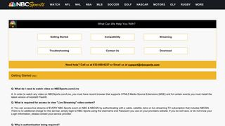 NBC Sports Live Frequent Asked Questions (FAQs) and Customer ...