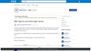 NBC Sports Live Extra login issues - Apps - Apps Forum - Cox ...