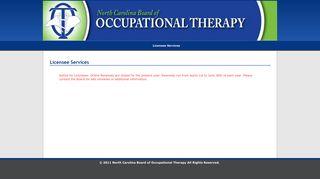 North Carolina Board of Occupational Therapy Licensee Services