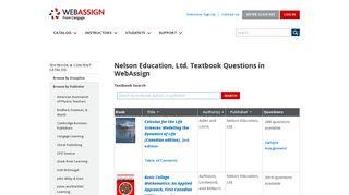 WebAssign - Nelson Education, Ltd. Textbooks