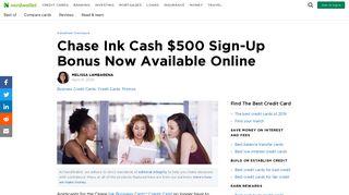 Chase Ink Cash $500 Sign-Up Bonus Now Available ... - NerdWallet