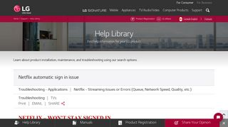 LG Help Library: Netflix automatic sign in issue   LG Canada