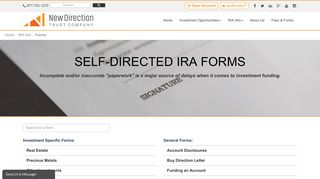 Self Directed IRA Forms - New Direction Trust Company
