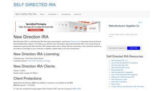 New Direction IRA - SELF DIRECTED IRA