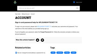 Sign in and password help for NFLSUNDAYTICKET.TV – Help Center