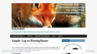 Sample : Log-on Warning Banner – VulPoint